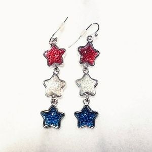 Jewelry - New Red White Blue 4th of July Stars Earrings